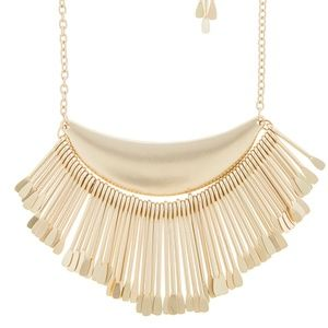 Jewelry - gold tone fringe bib necklace new